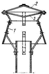 Дефлектор конструкции Григоровича: 1 - диффузор; 2 - колпак; 3 - обратный конус