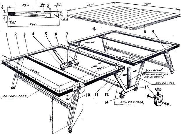 Как сделать раскладной теннисный стол чертежи