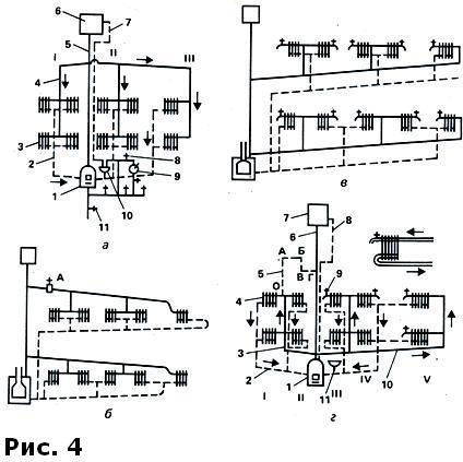 Схемы двухтрубных двухэтажных