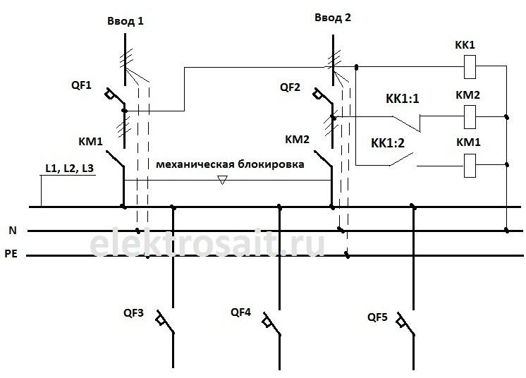 схемы авр на контакторах с двумя вводами