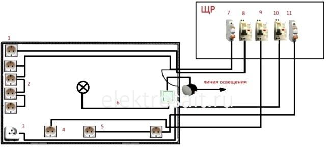 Схема электропроводка на кухне