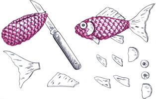 Поделки из шишек. Золотая рыбка. Мастер класс с фото 6