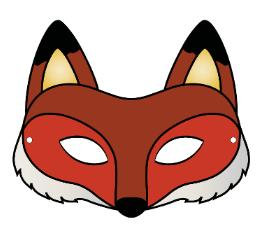 Шаблон новогодней маски лисы.