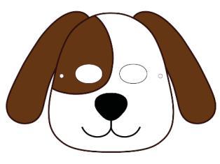 Шаблон новогодней маски собаки.